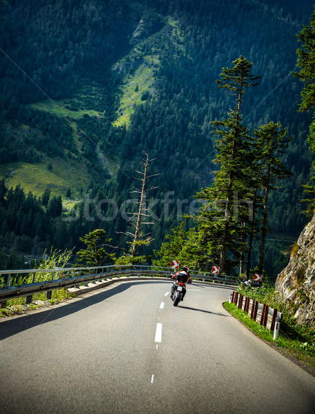 Motorcyclist on mountainous road Stock photo © Anna_Om