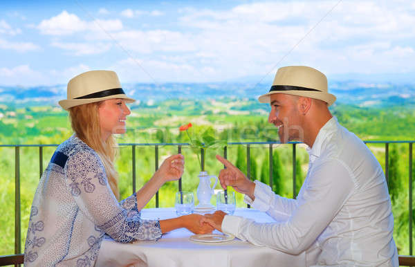 Young couple having breakfast Stock photo © Anna_Om