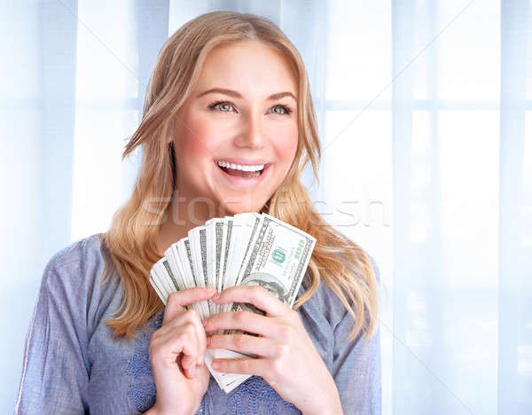Happy woman with lot of money Stock photo © Anna_Om