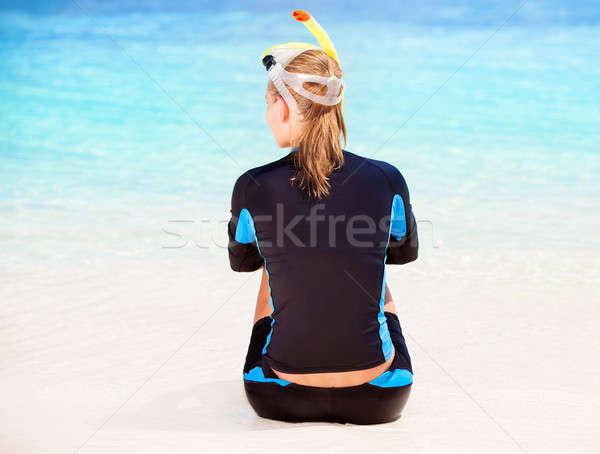 Diver девушки назад сторона сидят Сток-фото © Anna_Om