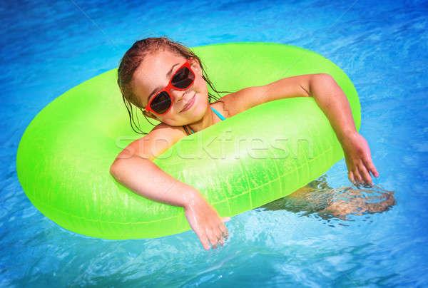 Kislány úszómedence portré aranyos boldog szórakozás Stock fotó © Anna_Om