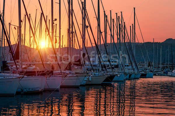 Sailboats on sunset Stock photo © Anna_Om