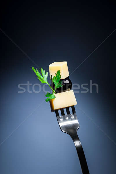 Cheese and olive on the fork Stock photo © Anna_Om