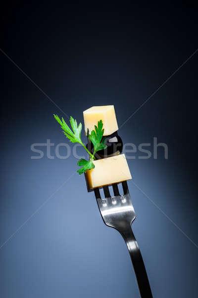 Queijo oliva garfo peça preto salsa Foto stock © Anna_Om