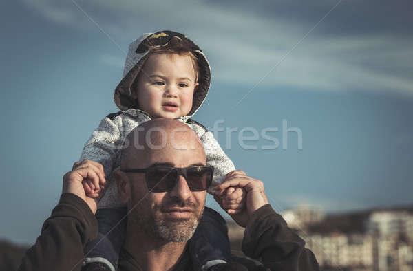 Pai pequeno filho retrato bonitinho Foto stock © Anna_Om