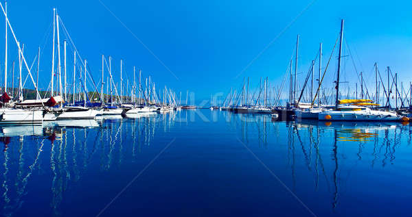 Yacht port over blue nature scene Stock photo © Anna_Om