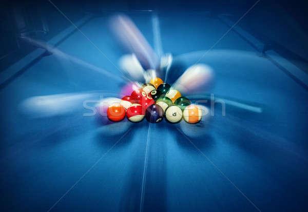 Biliárd medence kék asztal színes golyók Stock fotó © Anna_Om