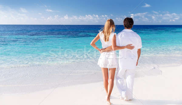 Loving couple enjoying seascape Stock photo © Anna_Om