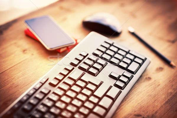 Desktop kantoor pc muis mobiele telefoon Stockfoto © Anna_Om