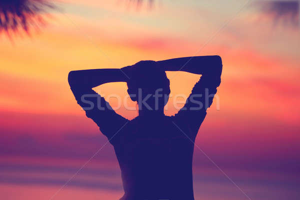 Woman relaxing on the beach Stock photo © Anna_Om