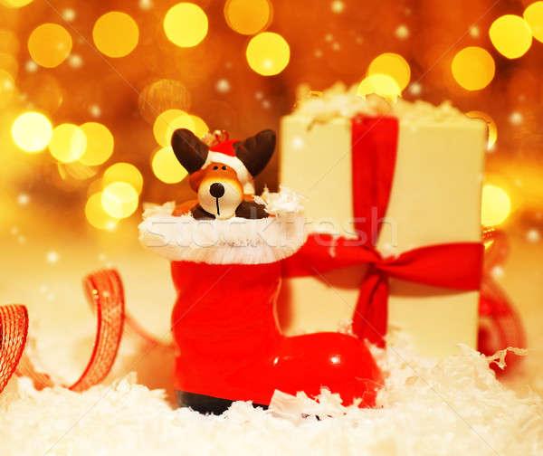 ünnep aranyos mikulás csizma dekoráció karácsonyfa Stock fotó © Anna_Om