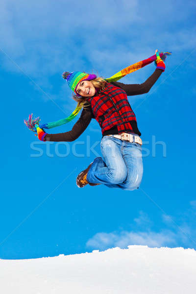 Happy girl jumping Stock photo © Anna_Om