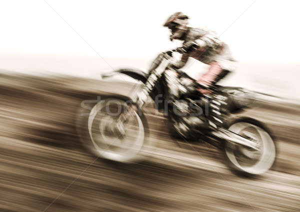 Kampioenschap motorcross zijaanzicht rijden motorfiets vertragen Stockfoto © Anna_Om