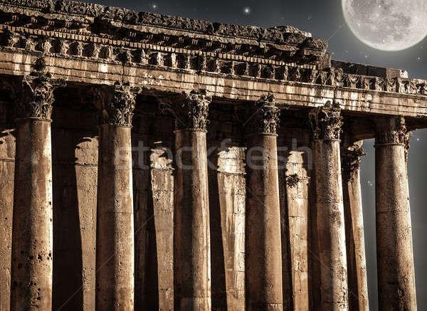 Foto stock: Castillo · noche · hermosa · luna · llena · antigua