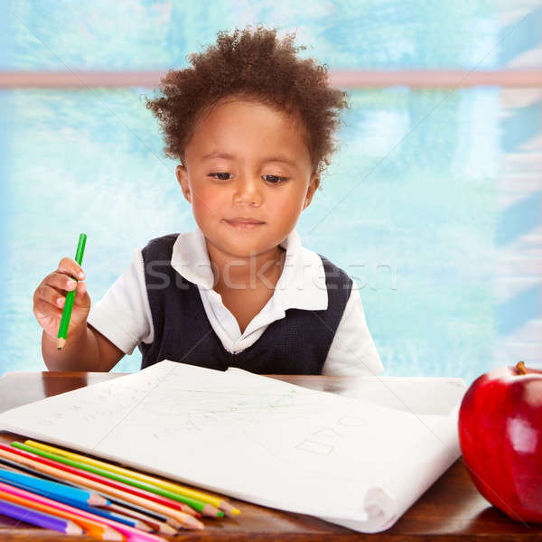 Stockfoto: Cute · afrikaanse · portret · weinig · tekening