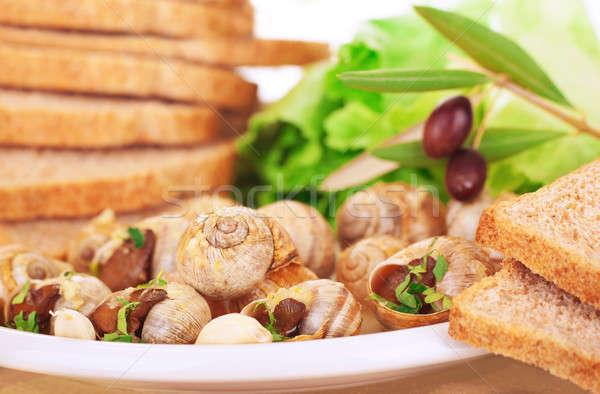Smaczny przygotowany chleba oliwek tablicy luksusowe Zdjęcia stock © Anna_Om