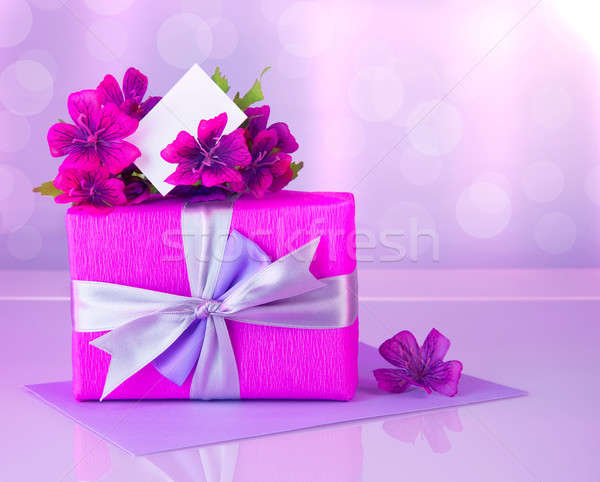 Pink gift box with greeting card Stock photo © Anna_Om