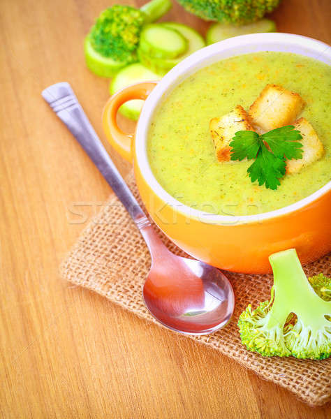 Delicious broccoli and zucchini soup Stock photo © Anna_Om