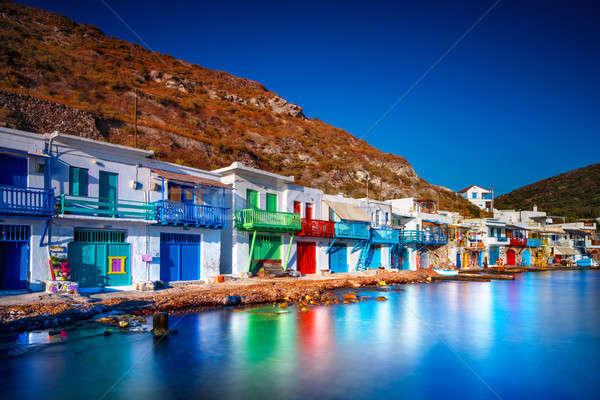Colorido pescador casas Grecia stand montana Foto stock © Anna_Om