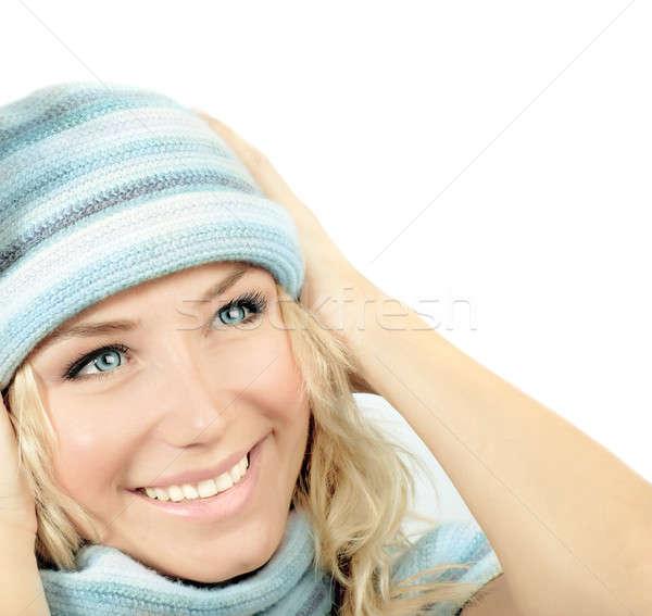 Сток-фото: Cute · девушки · зима · Hat · синий
