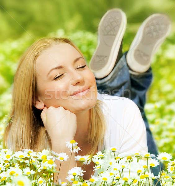 Сток-фото: красивой · женщины · цветок · красивая · женщина · Daisy