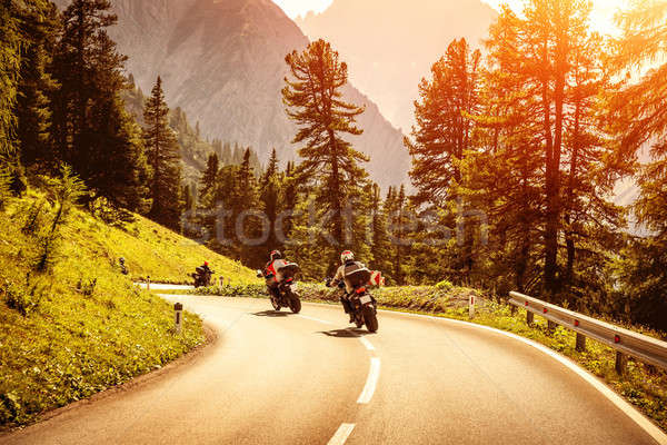 Group of motorcyclists on mountainous road Stock photo © Anna_Om