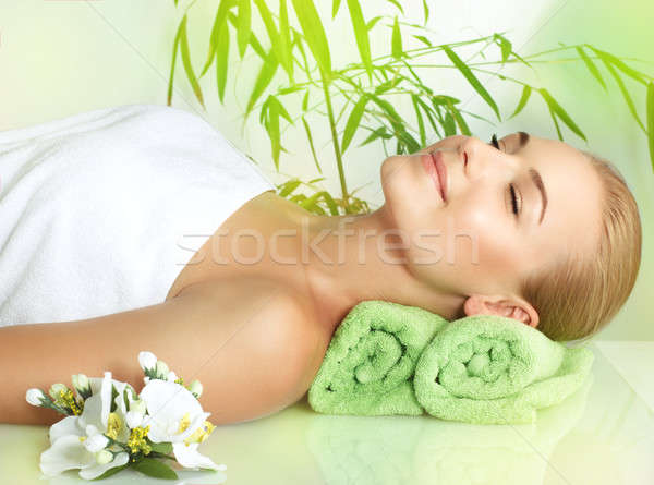 Happy woman at spa Stock photo © Anna_Om