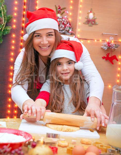 Stok fotoğraf: Mutlu · aile · Noel · kurabiye · anne · küçük