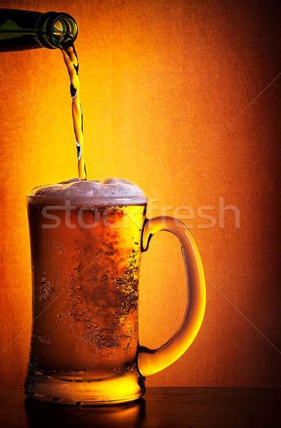 Gustoso freddo birra bottiglia vetro arancione Foto d'archivio © Anna_Om