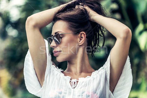 Сток-фото: великолепный · женщины · портрет · Солнцезащитные · очки