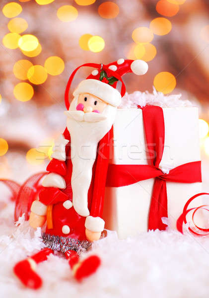 Holiday background with cute Santa decoration Stock photo © Anna_Om