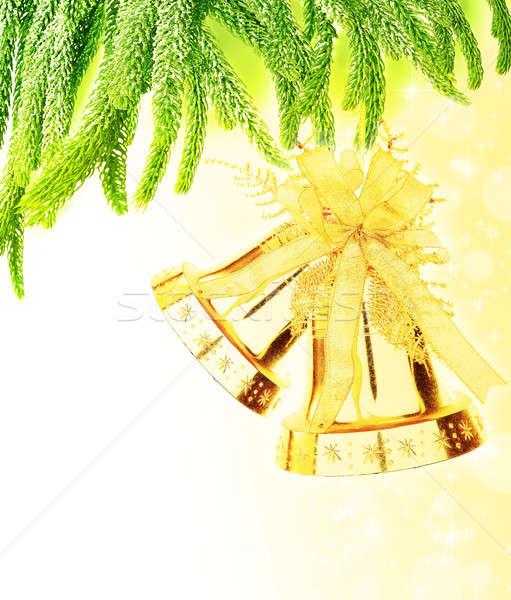 Stock fotó: Karácsonyfa · keret · zöld · nagy · arany · játék
