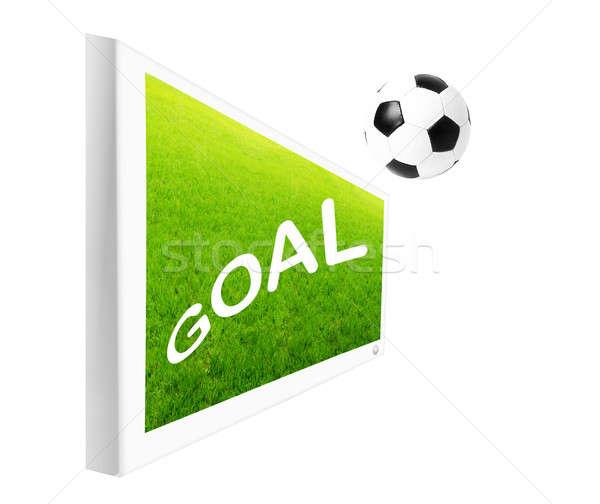Doel tekst tv scherm voetbal bal Stockfoto © Anna_Om
