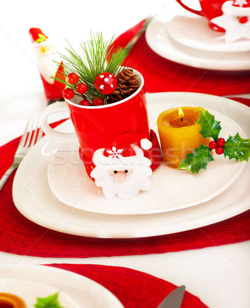 Christmastime table setting Stock photo © Anna_Om