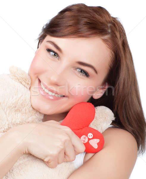Woman with soft toy Stock photo © Anna_Om