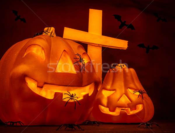 Halloween on cemetery Stock photo © Anna_Om