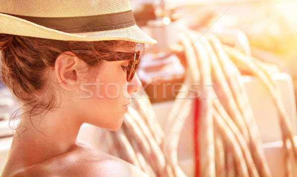 Young female on the yacht on sunset Stock photo © Anna_Om