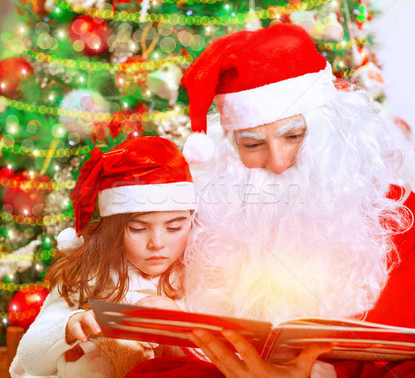 Reading fairytale with Santa Claus Stock photo © Anna_Om