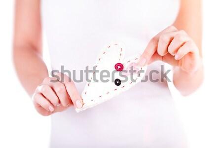 Szeretet nő kéz a kézben kézzel készített puha szív Stock fotó © Anna_Om