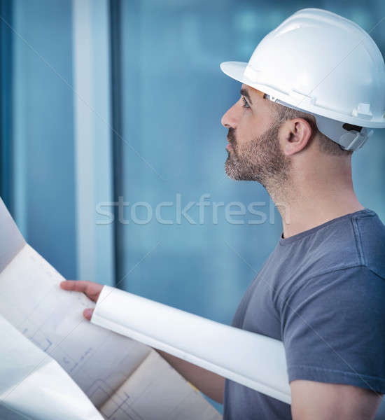 Architect builder studying layout plan of the room Stock photo © Anna_Om