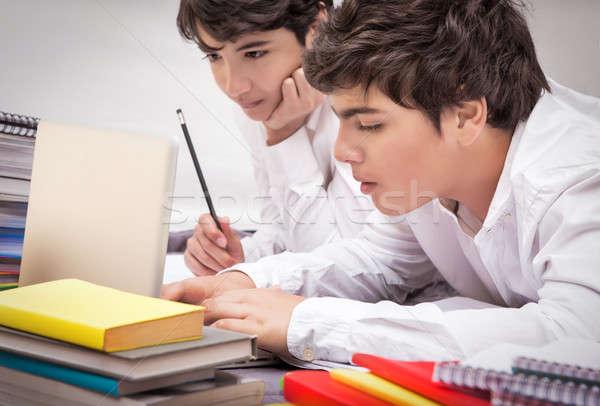 два Одноклассники домашнее задание вместе домой трудный Сток-фото © Anna_Om