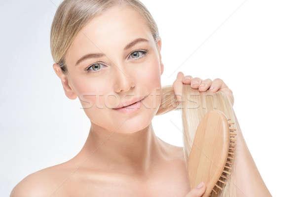 нежный женщины волос портрет изолированный Сток-фото © Anna_Om