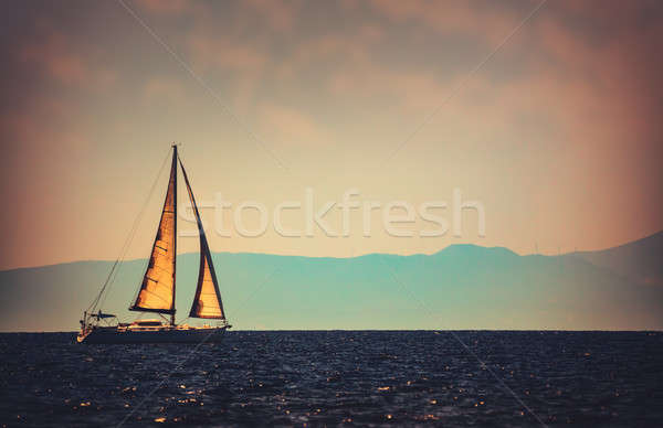 красивой парусника расстояние Vintage стиль фото Сток-фото © Anna_Om
