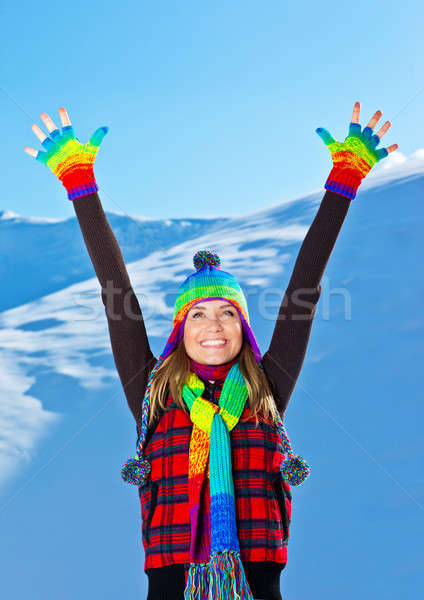 Happy cute girl playing in snow outdoor, Christmas winter holida Stock photo © Anna_Om