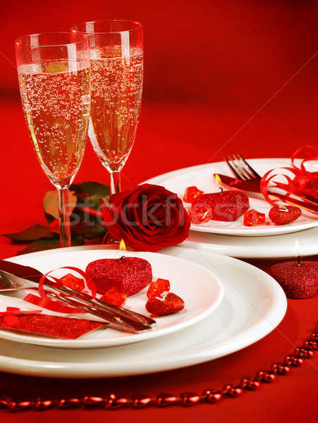 Romantique table photos luxe dîner blanche Photo stock © Anna_Om