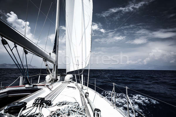 Luxe zeil boot zee avond extreme Stockfoto © Anna_Om