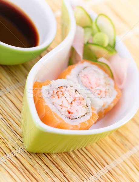 Tasty sushi with soy sauce Stock photo © Anna_Om