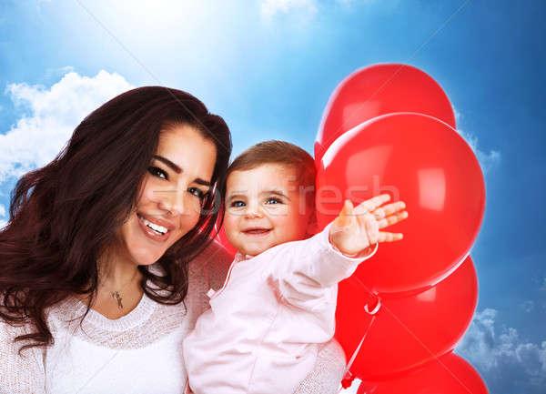 Szerető anya baba közelkép portré aranyos Stock fotó © Anna_Om