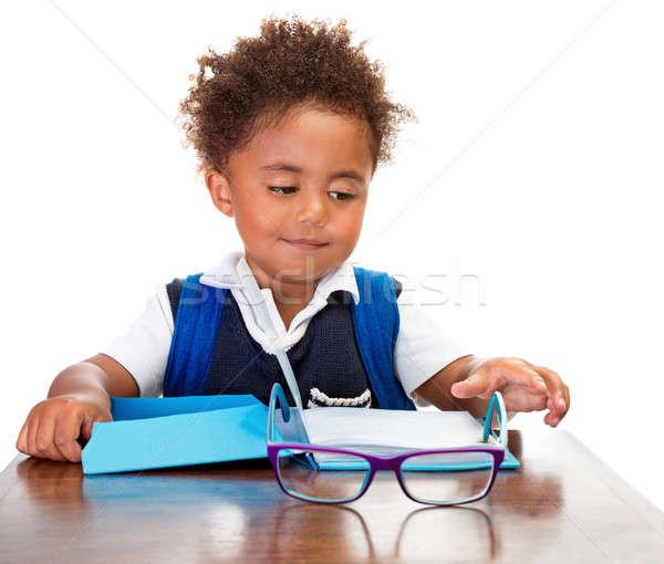 Little boy reading books Stock photo © Anna_Om