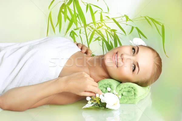 Happy woman at spa Stock photo © Anna_Om